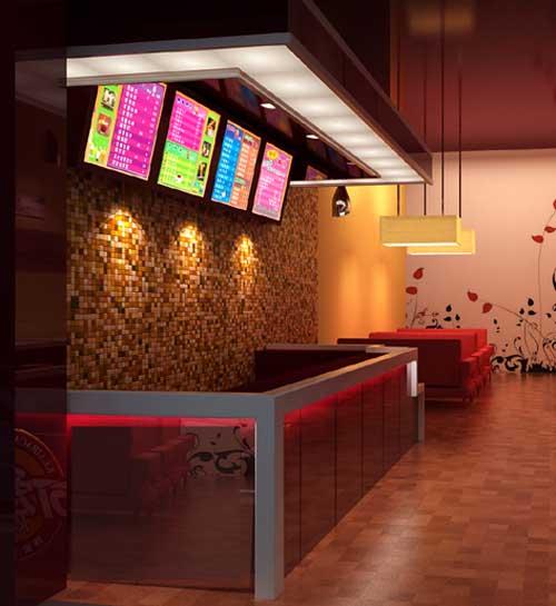 奶茶店吧台展柜制作设计效果|冷饮店展柜制作效果图片