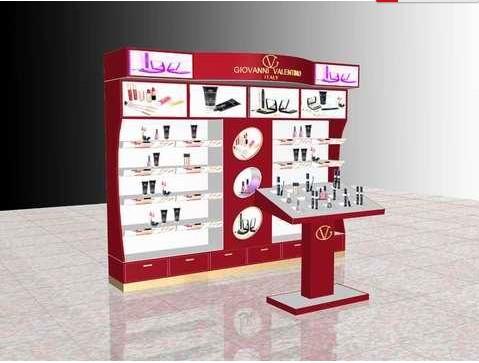 红色系化妆品店展柜制作设计效果