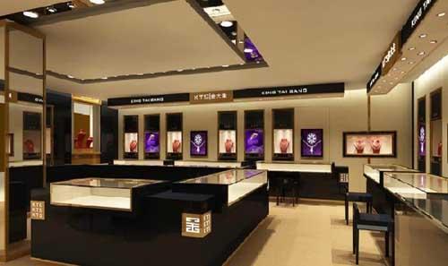 紫色和黑色系的珠宝店展柜制作设计整体效果欣赏图片