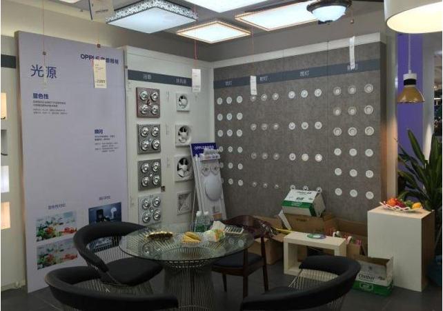 欧普照明店铺展柜道具配置细节图片-河南展柜设计制作